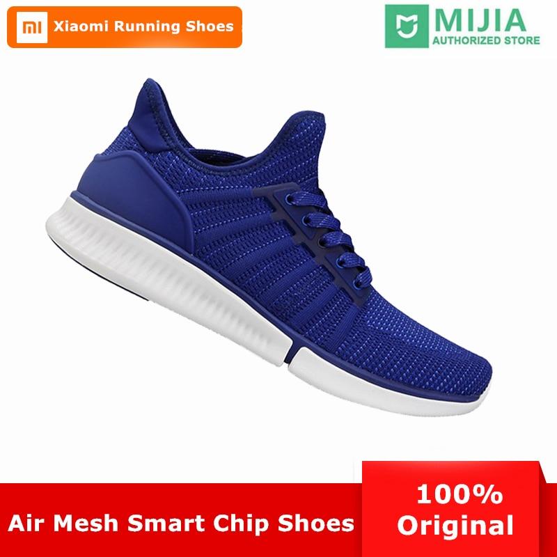 Xiao mi mi jia hommes intelligents chaussures de course en plein Air Sport mi homme baskets respirant Air maille Zapatillas Mujer Support Chipset intelligent