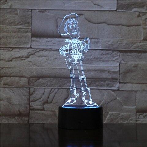 woody desenhos animados 3d ilusao cores mudando led night light 7 woody candeeiro de mesa