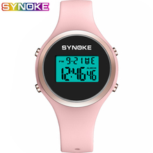 SYNOKE Women Digital Waterproof Electronic Sports Watch For Fitness Rubber Wrist 5 Bar Lady LED Candy Pink Clock