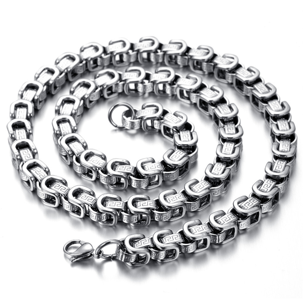 Stainless Steel Mens Necklace, Silver, Heavy HN162-in ...