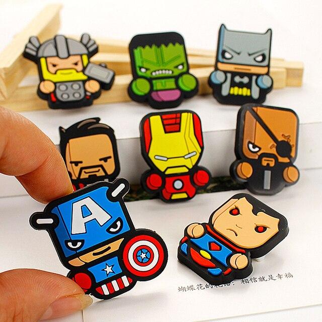 8pcslot kawaii diy batman superman badge pvc safty pins avengers badges accessories hunt iron batman superman iron man