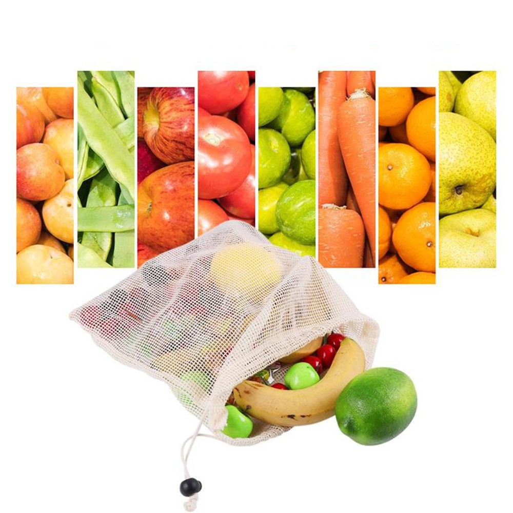 Image 3 - Reusable Organic Cotton Vegetable Mesh Bag for Men Women Home Kitchen Washable Fruit Grocery Drawstring Shopping Storage Bags-in Bags & Baskets from Home & Garden