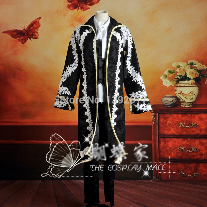 Hommes noir dentelle broderie luxe médiéval costume vintage période costume veste avec pantalon