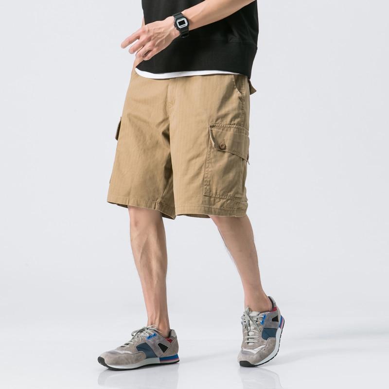 Aolamegs Shorts Men Cargo Solid Bermuda Mens Beach Knee-length Shorts Multi-Pockets Zipper High Quality Male Summer Streetwear