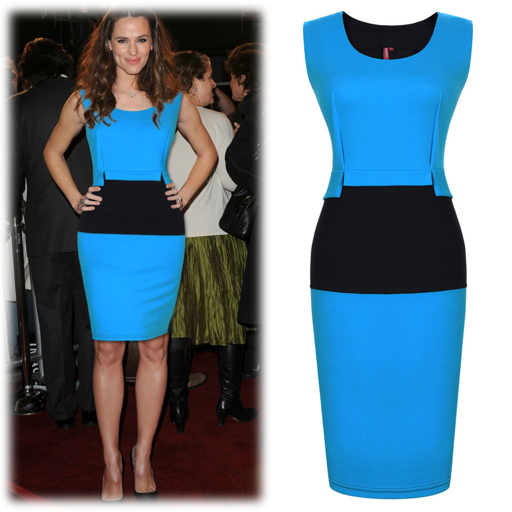 The New Summer Dress 2014 Women 39 S European And American Style Stitching Slim Sleeveless Package