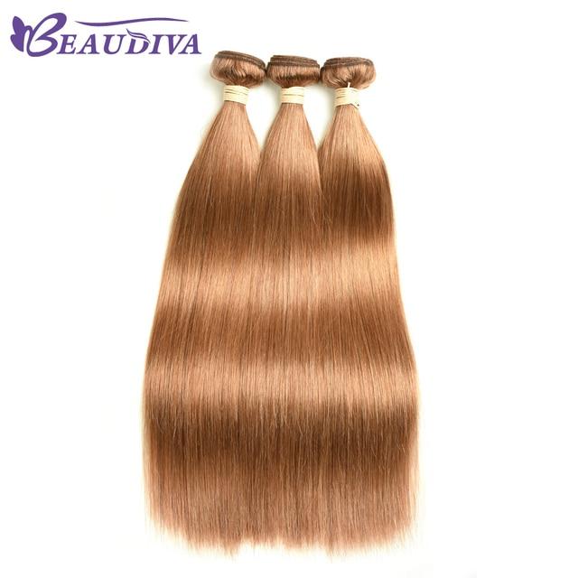 Beaudiva Pre Colored Human Hair Weave Brazilian Straight 30 Light