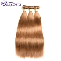 BEAUDIVA Pre Colored Human Hair Weave Light Yaki Straight 30 Light Brown Colored Brazilian Remy Human