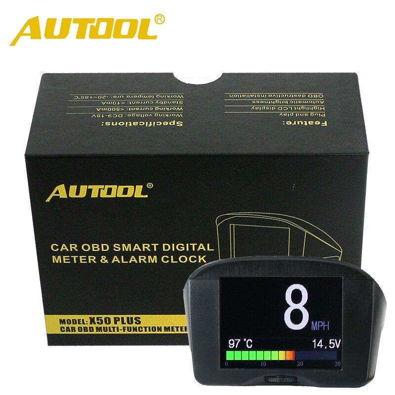 imágenes para AUTOOL Multifunción Coche OBD Medidor Digital Inteligente + Código de Falla de Alarma Indicador De Temperatura Del Agua Digital Voltaje Medidor de Velocidad pantalla