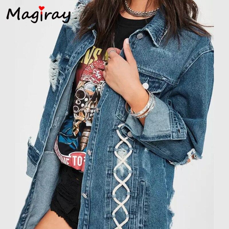 Bandage La Longues C288 Dentelle Effilochée Veste Up Manches À Plus Taille Femmes Magiray Grand Outwear Trou Jeans Manteau Poche Denim Vintage REvU8w