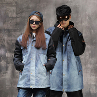 Winter Women Men Jeans Ski Jacket Waterproof Windproof Warm Ski Coat Thicken Breathable Snowboard Jacket Outwear