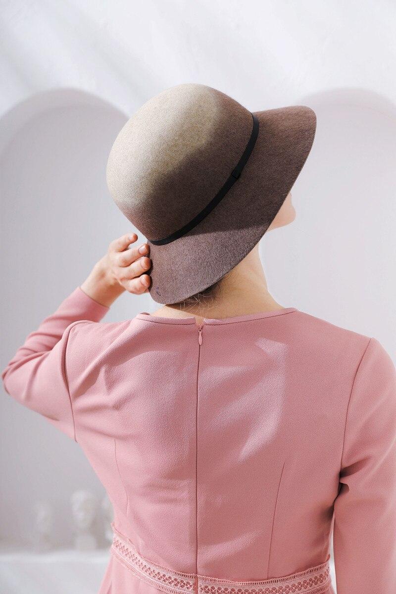 01809-FW318001 100% wool winter Gradient color special process elegant LADY cap women leisure bucket hat