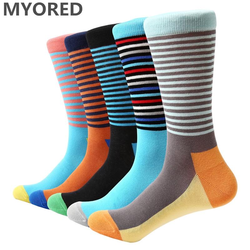MYORED 2018 NEW 5 pair/lot mens socks classic thin stripes business casual dress socks mens cool colorful party funny socks