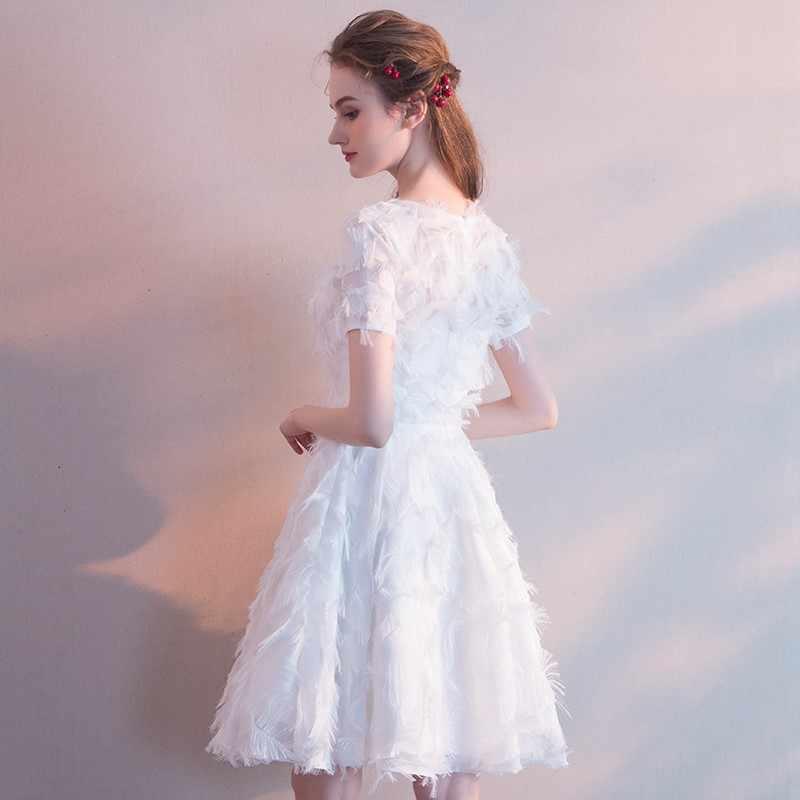 1117d32832d72 New Short Prom Dress Tassel Sleeve V neck Simple Elegant Fromal Evening  Party Graduation Birthday Party Vestidos Robe De Soiree