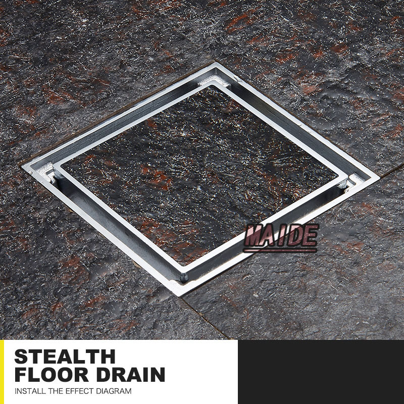 ФОТО 4 inch chrome Insert tile  Invisible Solid brass waste floor drain,100*100mm bathroom shower square floor waste drain