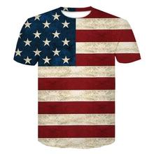 цена на 2019 New USA Flag T-shirt Men Women tshirts Sexy 3D Print Striped American Flag hip hop shirt Summer t shirt homme 3d Tops Tees