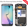 Blue For Samsung Galaxy S6 Edge SM-G925F LCD Display Touch Screen Digitizer Assembly+Bezel Frame+Tools Parts Free Shipping