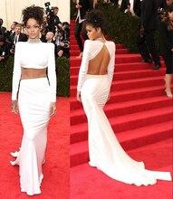Sexy Rihanna Weiß Celebrity Kleider Langarm High Neck Zweiteiler Prom Kleider Kristalle Backless Nixe-abschlussball ED08