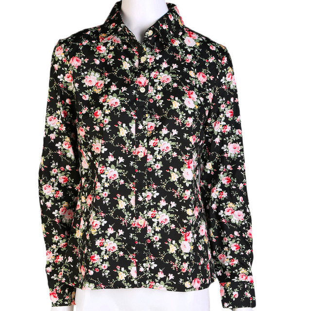 506e419e77fa New Stylish and unique design Small Flower Floral Print Cotton Shirt Long  Sleeve Blouse Tops with