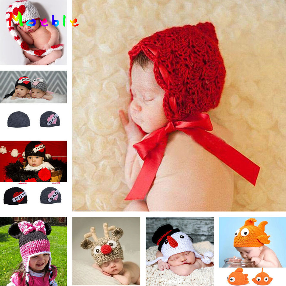 Crochet Baby Girls Flower Hat for Photo Shoot Knitted Newborn Photography Props Infant Baby Hat Beanie Winter Twins Photo Props