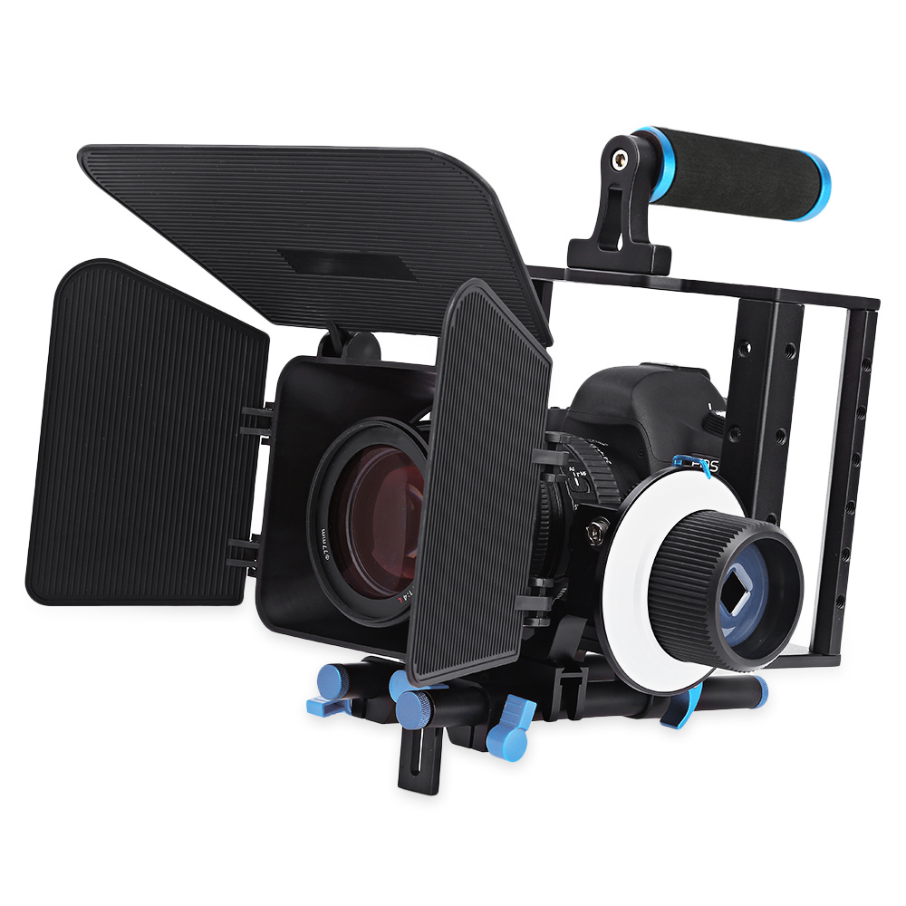 WEIHE Aluminum Alloy Movie Video Follow Focus Kit with Matte Box for DSLR Camera Camcorder yelangu aluminum alloy camera video cage kit film system with video cage top handle grip matte box follow focus for dslr