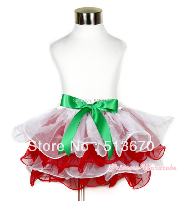 Xmas White Red Flower Petal Newborn Baby Pettiskirt With Kelly Green Bow MAN170