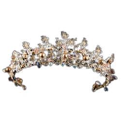 Свадебные блестящие Цветы Стразы Кристалл головной убор принцесса завод Свадьба Pageant Украшение для головы на выпускной