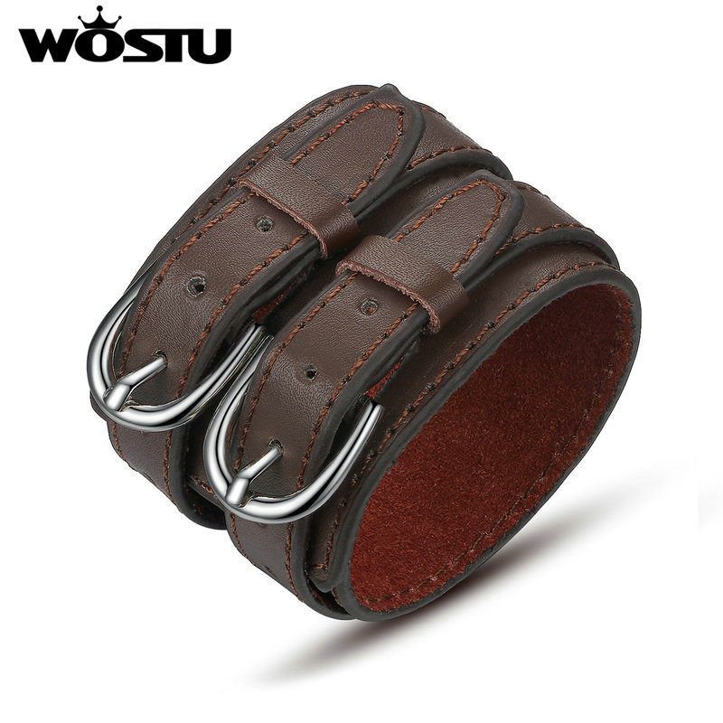 WOSTU Hot Sale 3 Colors Genuine Top Layer Leather Wrap Vintage Bracelet Trendy Jewelry For Men Women Fashion Pulseira XCJ0268