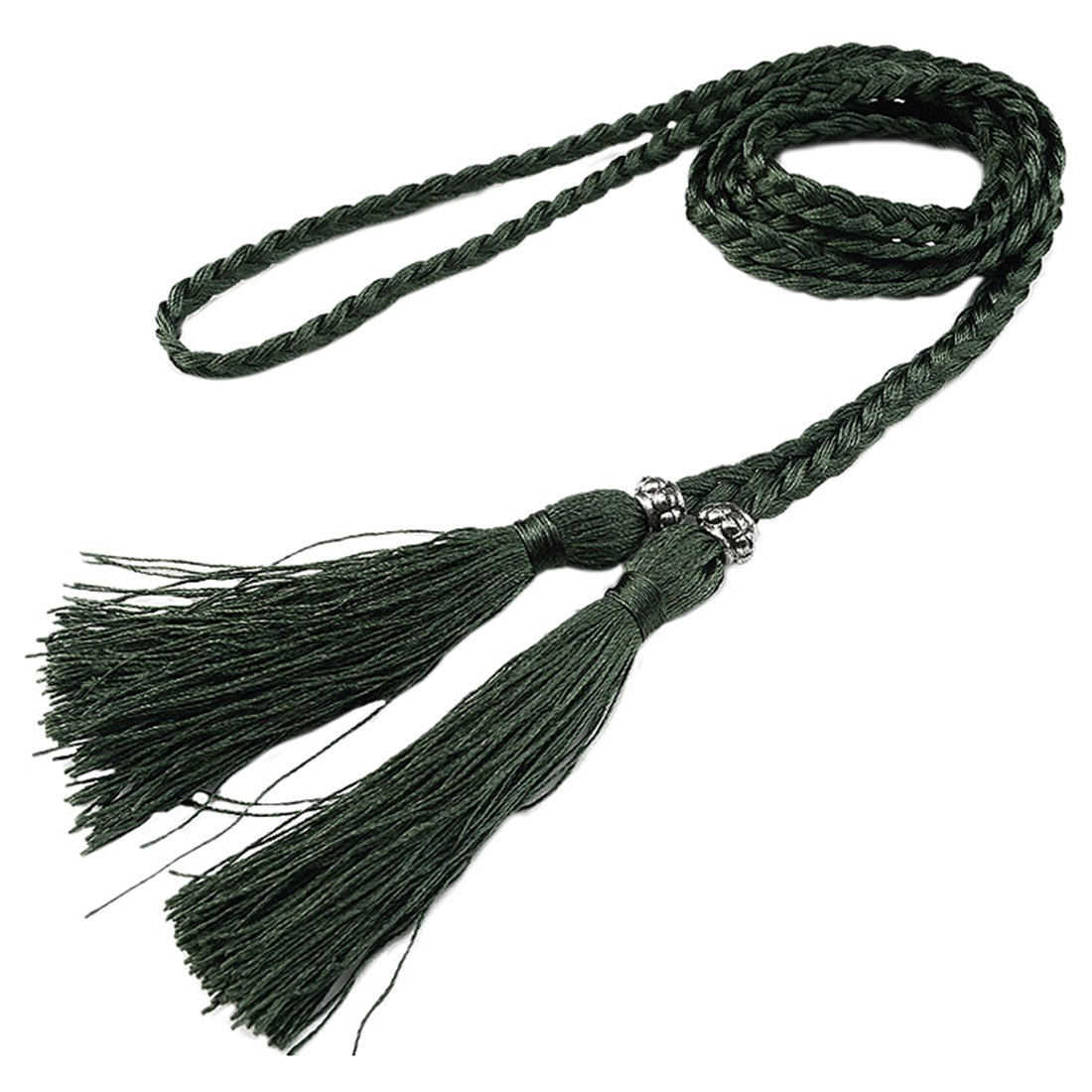 Woven Tassel Belt Knot Decorated Waist Chain Waist Rope Dark Green