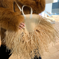 New Spring Summer Famous Brand 2019 Women Bags Tassels Natural Straw Paper Single Chain Cross Body Small Packages Vacation Bag