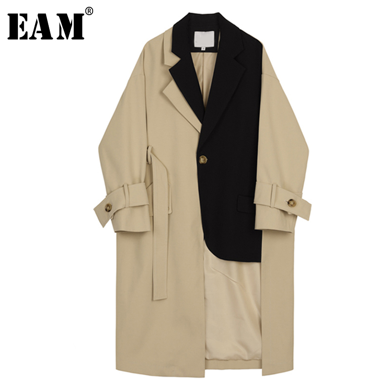 [EAM] 2020 New Spring Autumn Lapel Long Sleeve Button Spliced Bandage Loose Long Big Size Windbreaker Women Trench Fashion JY712
