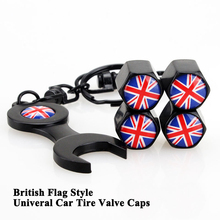 1set Universal British Flag Pattern Car Tire Valve Cap Mouth Cover Styling Wheel Tyre Accessories for Honda Audi Jaguar VW Tesla