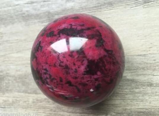 Natural Peach Blossom Stone Jade Ball Onl Crystal Sphere Healing 50mm
