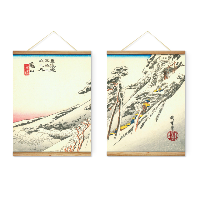 Japanese Style Landscape Snow White Mountains Decoration Wall Art Pictures  Hanging Canvas Wooden Scroll Paintings Ready