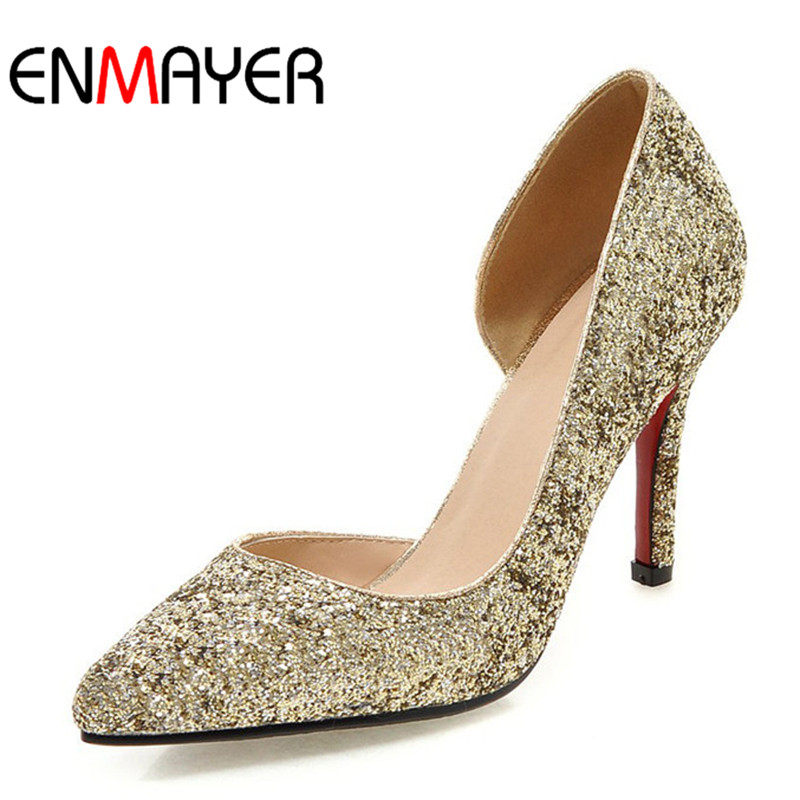 ENMAYER High Heel Shoes Woman Pointed Toe Spring &Autumn Pumps Women Sexy Black Pink Gold Weeding Ladies Shoes Large Size34-43 new spring autumn women shoes pointed toe high quality brand fashion ol dress womens flats ladies shoes black blue pink gray