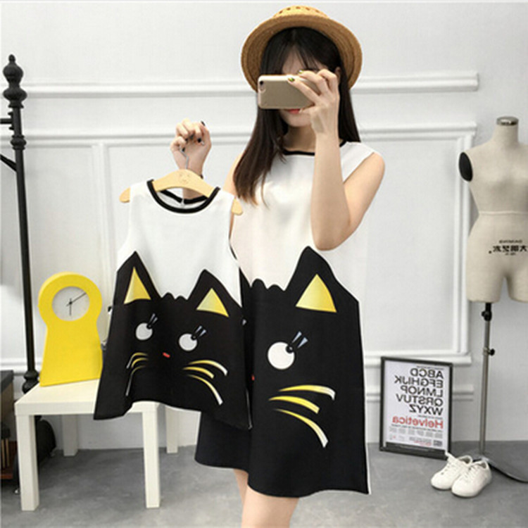 In Stock family look clothing mom daughter party dresses new arrival cute cat matching mommy mother and daughter dresses clothes
