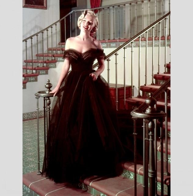 02cbe59ce تصميم بسيط طويل فستان سهرة رخيصة 2016 معطلة الكتف الروماني عطلة الطابق طول  تول حفلة موسيقية