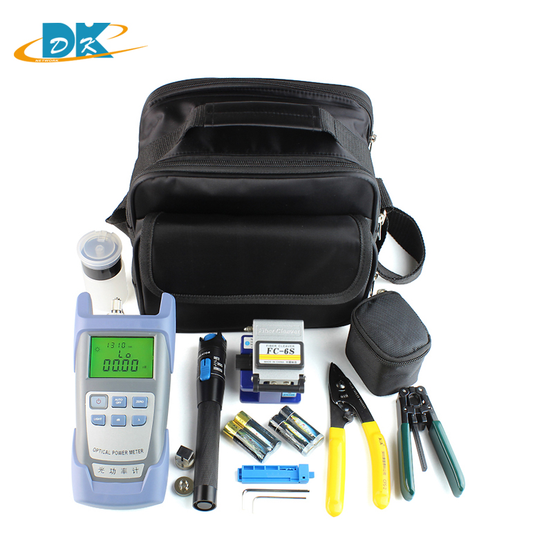 13 in 1 whole sale Fiber Optic FTTH Tool Kit with FC-6S Fiber Cleaver, Optical Power Meter 5km Visual Fault Locator Fiber Strip