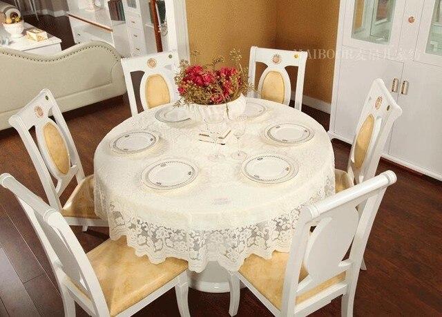 1pc 200200cm Elegant Europe Lace Round Tablecloth Beige Jacquard