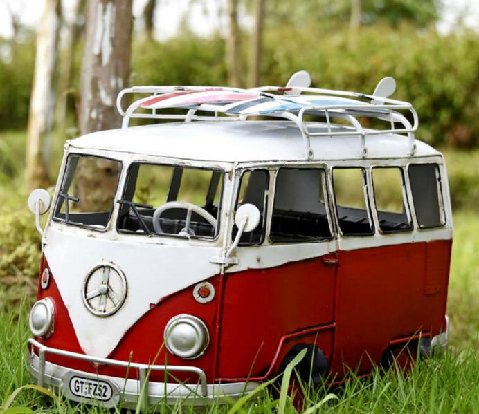 Tinplate Vintage Handicraft Car Model Large Retro Tourist Bus Creative Handmade Home Accessories Figurine Miniatures Toy Gifts