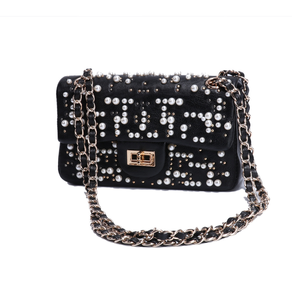 2018 New Women Messenger Bags Fashion PU Leather Handbags Lady Pearls Rivet Handbag Shoulder Crossbody Black Chains Bag Party цены