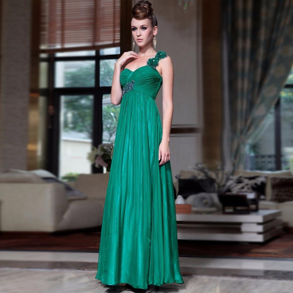 ᗗfree shipping 2018 Green one shoulder mint green chiffon elegant ...