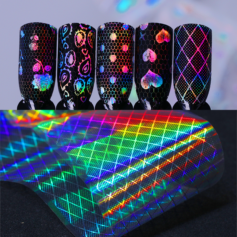 1 Roll Holographic Lace Starry Nail Foil 4*100cm Holo Rainbow Foils Laser Paisley Nail Art Transfer Foil Starry Sky Sticker 9 rolls colorful flower nail foil 4 100cm holographic starry full fingernail manicure nail art transfer sticker