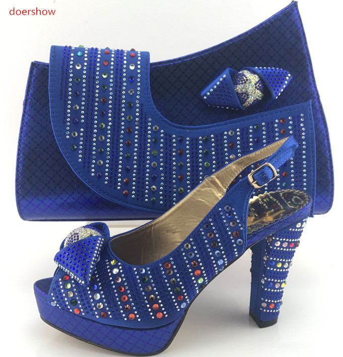 doershow Shoes and Bag Set blue Color Matching Italian Shoes and Bag Set Decorated with Rhinestone African Party Shoes PMB1-9 doershow ladies italian shoes and bag set decorated with rhinestone african wedding shoes and bag set party black shoes svp1 15
