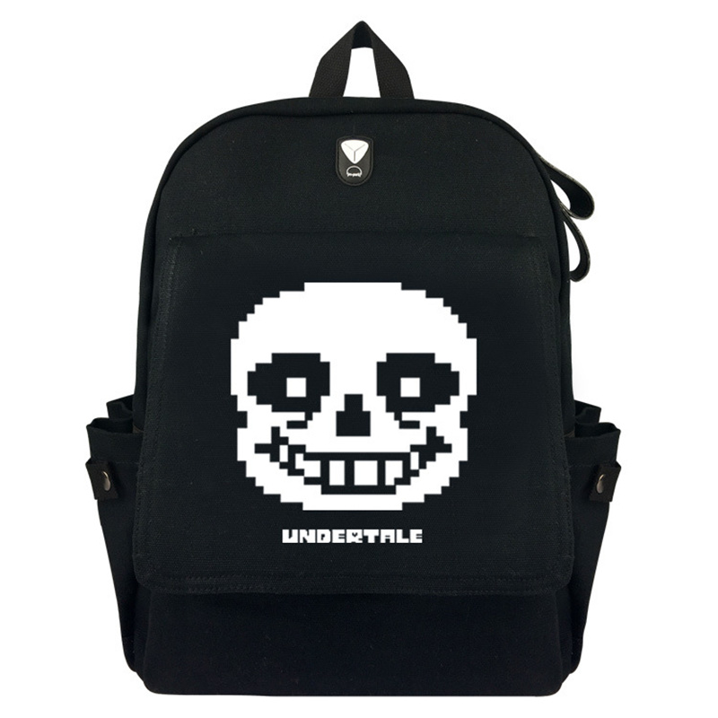 16 Inch Canvas Backpack Classic Design With Flap Pocket Undertale Backpacks For Student School Bag