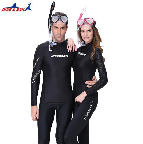Black UPF 50+ Sunscreen Dive Skin Anti-UV Wear Wet Suits Men Women Lovers Wetsuit Tankinis Rash Guard Surf Swim