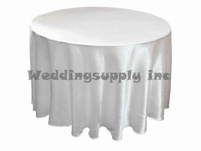 Elegant 12 Pcs Cheap Premium 108u0027u0027(275cm) Round White Satin Table Cloths For