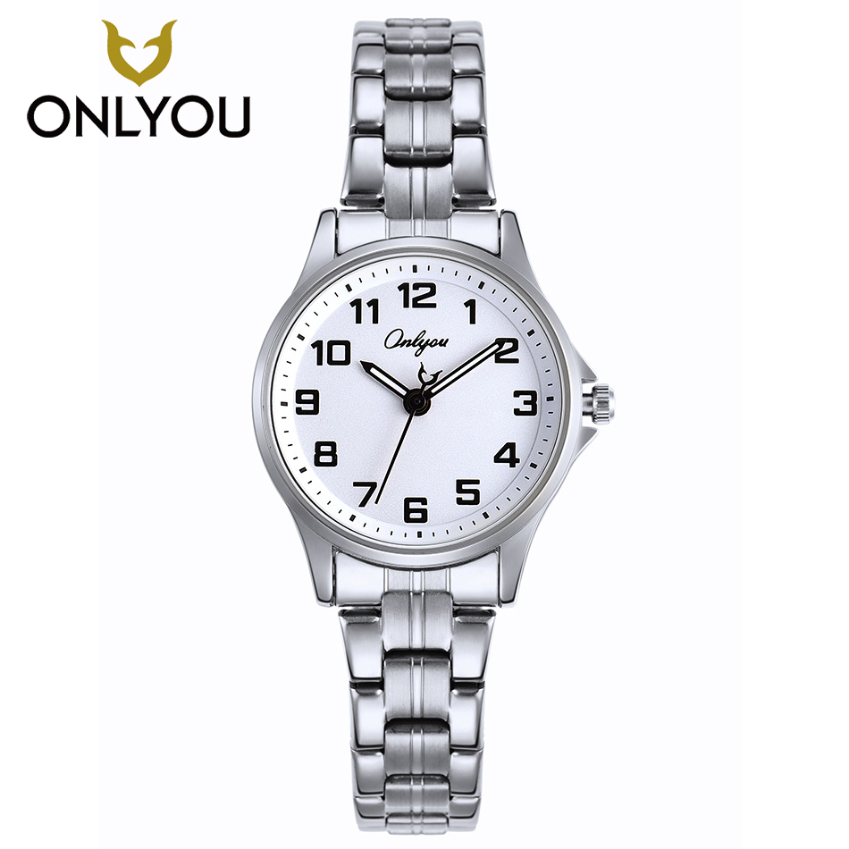ONLYOU Women Fahion Watch Lady Week Calendar Stainless Steel Business Quartz Clock Female Number Casual Wristwatch Gift Watches
