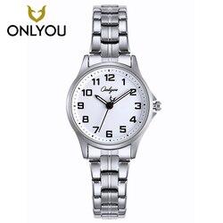 ONLYOU Women Fahion Watch Lady Week Calendar Stainless Steel Business Quartz Clock Female Number Casual Wristwatch Gift Watches