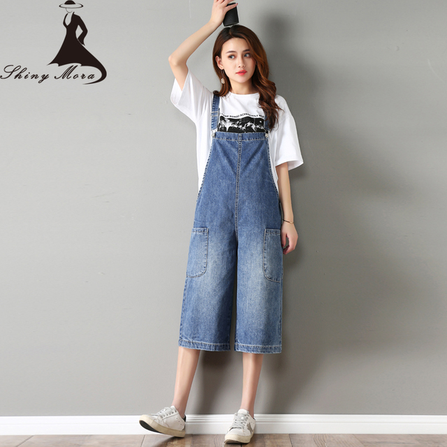b6b80479e7d SHINYMORA 2018 Summer Jeans Overalls for Women Female Loose Denim Jumpsuits  Girl Cute Rompers Casual Wide Leg Soft Jeans S-XXL