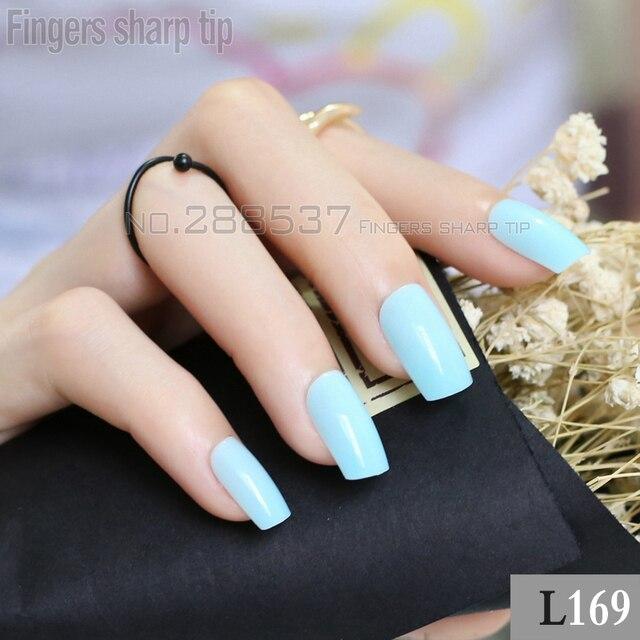 Накладные ногти небесно-синего цвета, 24 шт., изогнутые Длинные накладные ногти из акрила, удобные DIY R27 L169
